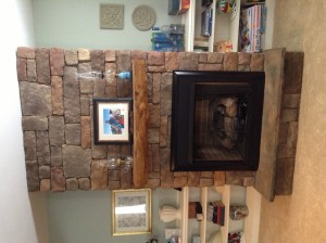 Custom gas fireplace mantle