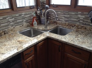 Custom tile backsplash with granite