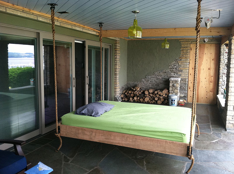 Custom Eucalyptus wood  hanging outside bed