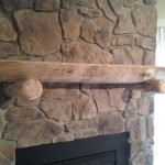 Custom log hearth and stone