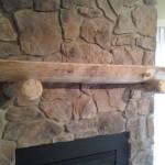 Custom log hearth and stone